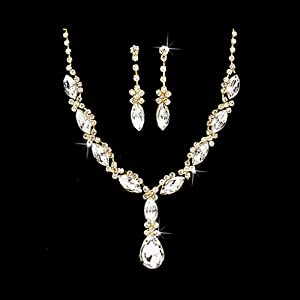 ACCESSORIESFOREVER Women Bridal Wedding Prom Fashion Jewelry Set Crystal Rhinestone Navette Cut Necklace Gold Clear