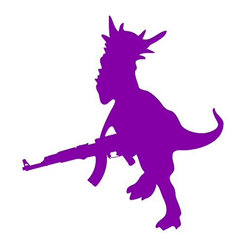 Auto Vynamics - DINOWEPS-AK47-5-GPUR - Gloss Purple Vinyl Dinosaur w/ Weapon Decal - Dino w/ AK47 Assault Rifle Design - 4.625-by-5-inches - (1) Piece Kit - Single Decal