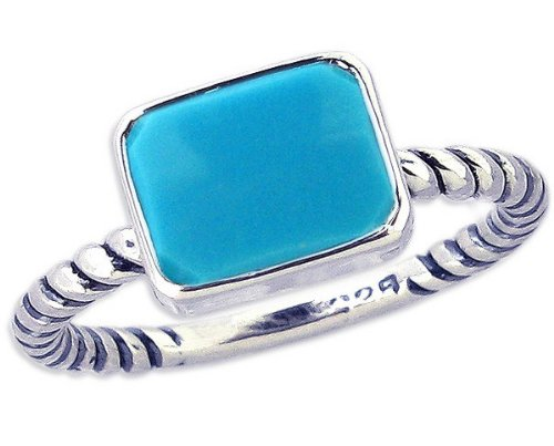 Twisted Sterling Silver Stackable Ring with Medium East-West Octagon Genuine Gemstone-Turquoise-in full,half,quarter sizes from 3.5 to 12_5