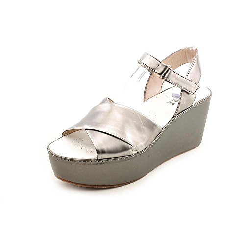 Dkny Saige Womens Size 6.5 Silver Leather Wedge Sandals Shoes front-1061755