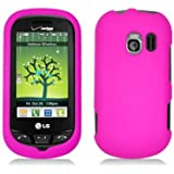 Pink Hard Plastic Case Cover for LG VN271 Extravert w/ Rubberized texture coating
