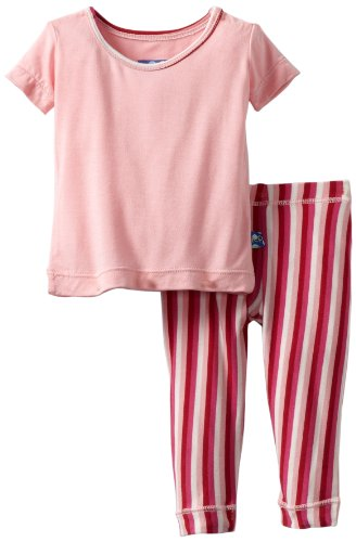 Kickee Pants Baby-Girls Infant Short Sleeve Pajama Set, Candy Stripe, 0-3 Months front-320258