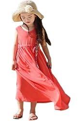 Urparcel Girls Summer One Piece Beach Long Dress Striped Sundress Skirts 3-8y