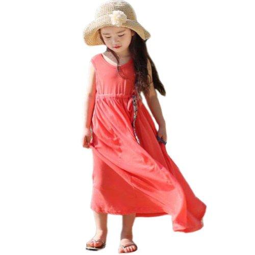 Urparcel Girls Princess Beach One Piece Dress Bohemia Sundress Long Skirts 3-8Y