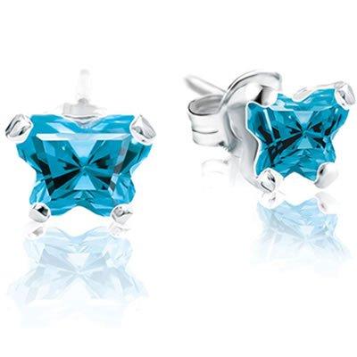 Jewelry Locker Bfly(tm) Sterling Silver and CZ December Birthstone Teen Earrings