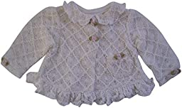 White Christening Jacket Sweater with Ruffles and Pink Roses and Pearls (12 month)