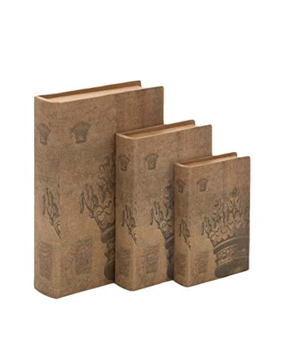 Set of 3 Decorative Book Boxes, Natural