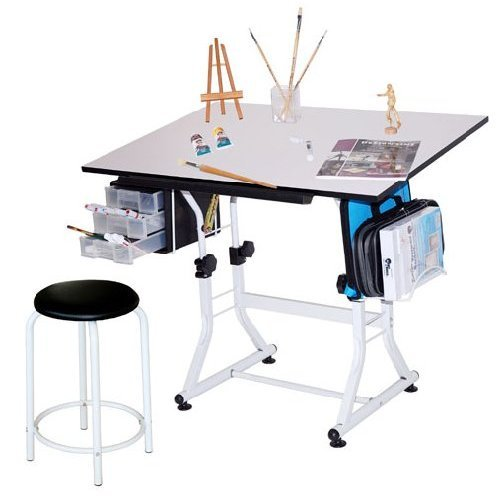 Martin Ashley Art-Hobby Table with Stool, Black with White Top, 23-1/2-Inch by 35-1/2-Inch Size Surface