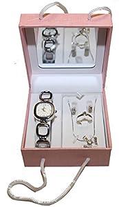 Coffret cadeaux Rose miroir femme parure Montre Bague Boucle d'oreilles Strass et Collier argentée