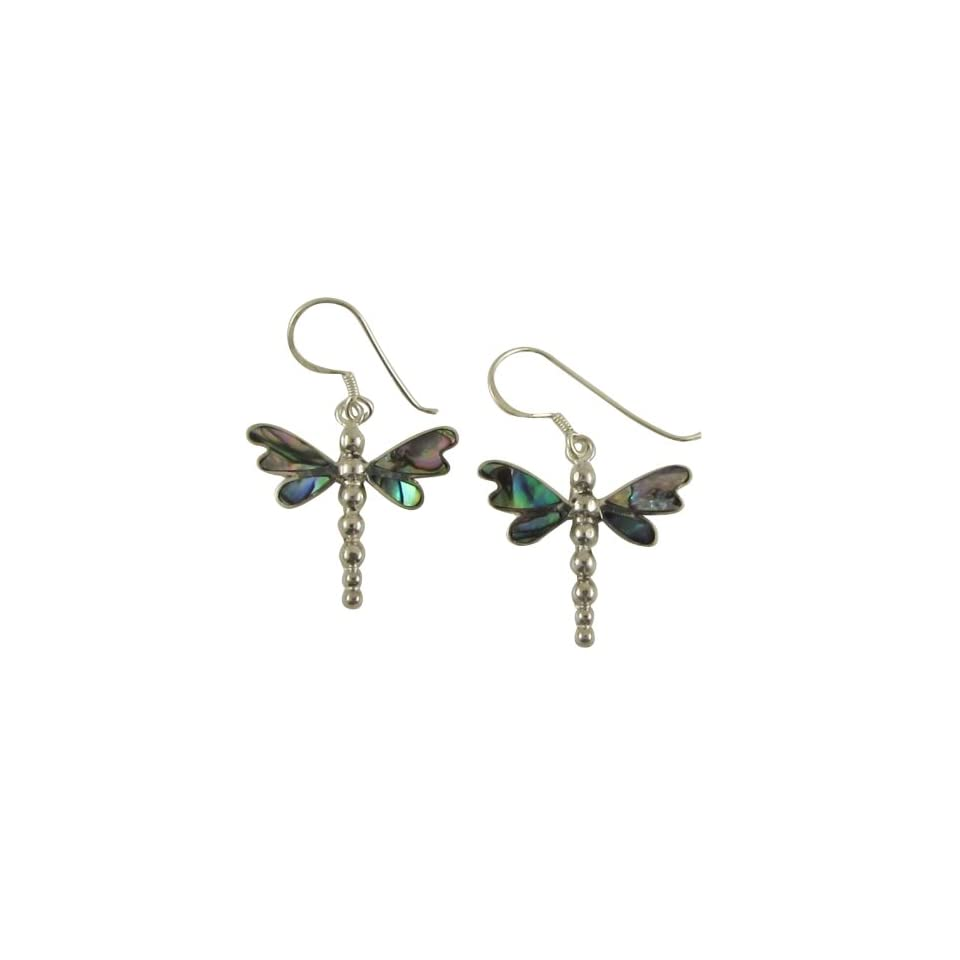 Abalone Dragonfly Sterling Silver Earrings