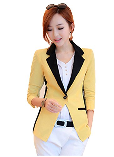 Tm Women Color Matching Ol Long Sleeve Slim Fit Blazer Suit Jacket Coat Yellow