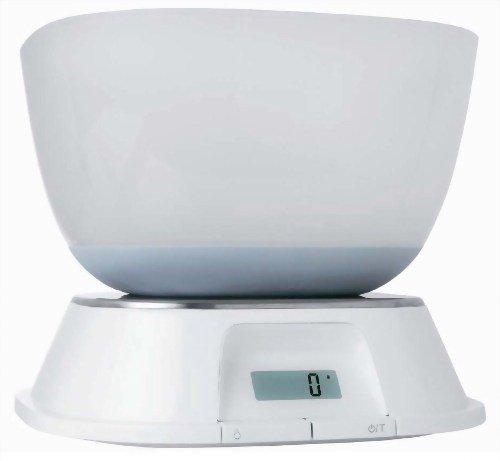 Terraillon デジタルキッチンスケール マヤ 3kg 【計量や調理に便利な大・小ボウル付】 ホワイト TKS714WT