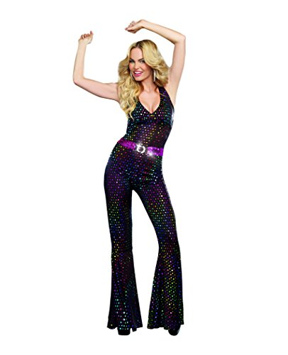 Dreamgirl Women's Sexy 70's Groovy Costume, Disco Doll, Black, Small