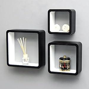 3 set lounge cube shelf design retro 70s wall shelf hanging shelf in black and white: Amazon.co ...