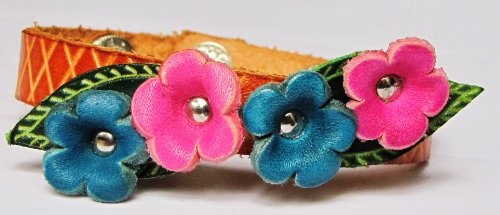 Flowers, Blue And Pink On Orange Band All Hand Worked Leather Bracelet - Adjustable Size