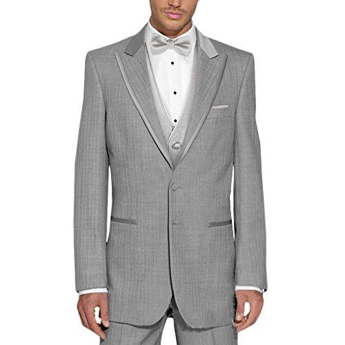 MYS Men's Custom Made Peak Satin Lapel Suit Pants Vest Tie Set Grey Size 40R (Fat Daddy Button compare prices)