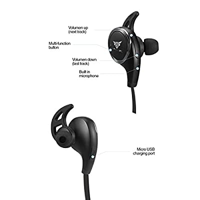 Bluetooth Headphones & Headset - Wireless Sport Earbuds Noise Cancelling Sweatproof Earphones for Running & Biking for ANY iOS iPad iPhone 6 6S Plus & Android Samsung S5 S6 or Any Bluetooth Device