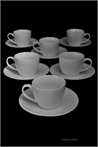Set 6 Fine Bone China White Demitasse Espresso Cups & Saucers in Gift Box