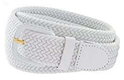 CTM® Mens Elastic Braided Belt with Covered Buckle (Big & Tall Available), X-Large, White