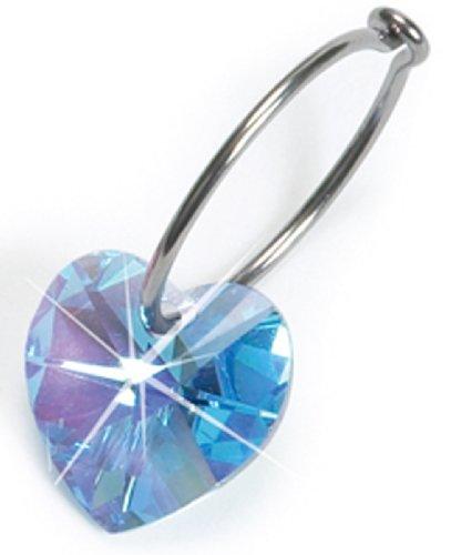 Nickel Free Swarovski Heart Dangle, Aquamarine