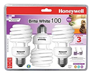 Honeywell 23 Watt Brite White T2 Mini Spiral, 3-pack CFL Light Bulbs