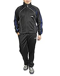 TROOS Men's Polyester Tracksuit(TS21001_Black)