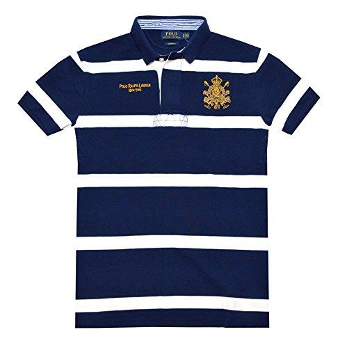 Polo Ralph Lauren Men Custom Fit Embroidery Designer Logo Polo Shirt (Xxl, Navy/White)