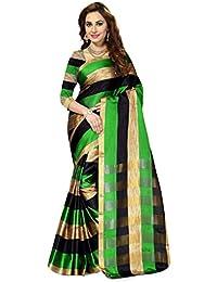 Ishin Poly Cotton Saree (Ishin-20137_Green & Black)