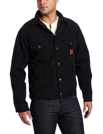 Carhartt Men's Jean Jacket Sherpa Lined Sandstone at Amazon Men's Clothing store: Denim Jackets