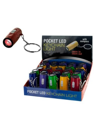Pocket Led Keychain Light With Compass (25 Per Pdq) (Available In Case Pack Of 25)