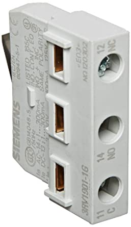 Siemens 3RV1901-1G Plug In Contact Block, 1 Block Per 3RV, Mountable at the Front, 1 SPDT Contact NO/NC Electronic Contact