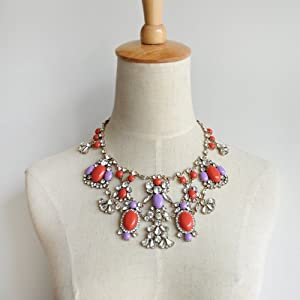 Crystal Color Stone Statement Necklace - Great Quality