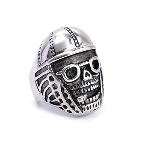 mens-316l-stainless-steel-pipe-skull-ring-silver-gothic-vintage-biker-size-r-1-2