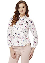 Chumbak Women's Button Down T-Shirt (CSW001 L_Off White_L)