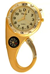 Clip on Watch Bag Pocket Watch W/compass & Back Light Gold Tone