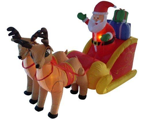 4' Airblown Inflatable Santa, Sleigh & Reindeer Lighted Christmas Yard Art Decor