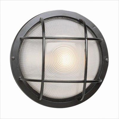 Trans Globe Lighting 41505 BK 8-Inch 1-Light Outdoor Medium Round Bulkhead, Black