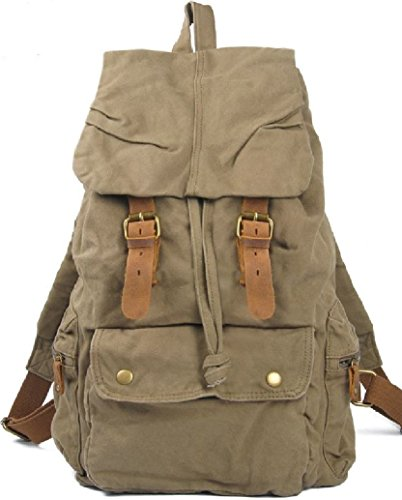 AM Landen®Rucksack Canvas Backpack Genuine Leather Straps(Khaki)