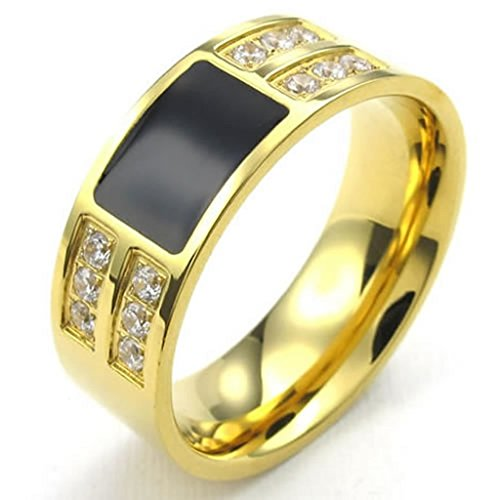 Stainless Steel Rings, Men's Bands Classic Golden Black CZ Size 8 Epinki (Shane Co Rings compare prices)