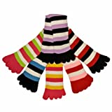 Luxury Divas Bright Multi Colored Striped Assorted 6 Pack Toe Socks