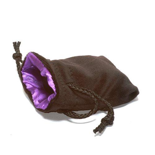 "3.75X4"" Black Velvet Dice Bag with Purple Satin Lining"