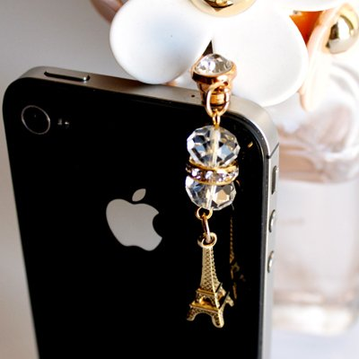Crystal Earphone Jack/Dust Plug/Ear Cap For Iphone Ipad Or All 3.5Mm Cell Phone,Samsung Galaxy S2 S3, Htc Sony Nokia Motorola Lg Lenovo (Style-Tower)