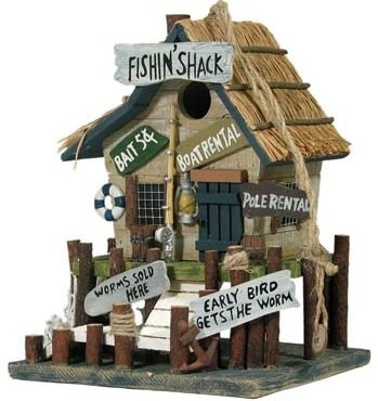 Fishing Shack Birdhouse with Signs (Very Detailed)(Hand-Made of Wood) 10.5