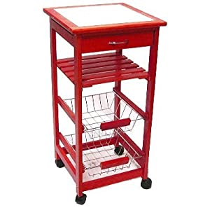 Kitchen Trolley Cart With Shelves Drawer Red Wood White Ceramic 14 57x14 57x29 92 Amazon