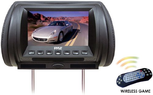 Pyle PL70HDB Adjustable Hideaway Headrest 7-Inch Video Monitor with DVD/USB/SD Player, Wireless IR/FM Transmitter, 32 Video Games