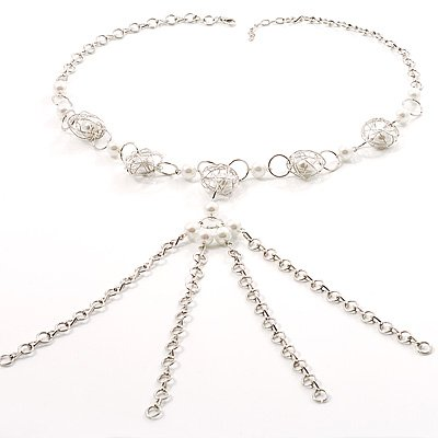 Silver Tassel Pearl Style Costume Necklace