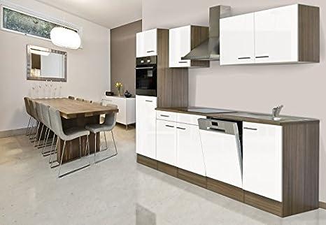 respekta Bloque vacío de la Cocina cocina Bloque de vacío Cocina pequeña 280 cm Roble York Blanco