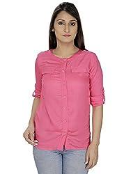 Franclo women's Formal Shirt (Pink, Medium)