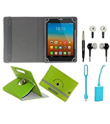 Gadget Decor (TM) PU Leather Rotating 360° Flip Case Cover With Stand For BaSlate 7QI + Free USB Led Light + Free Handsfree( Without Mic) - Green