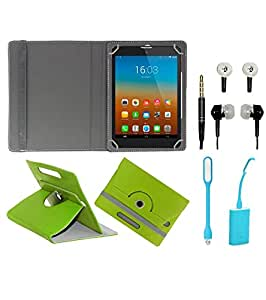 Gadget Decor (TM) PU Leather Rotating 360° Flip Case Cover With Stand For Videocon VA81 + Free USB Led Light + Free Handsfree( Without Mic) - Green